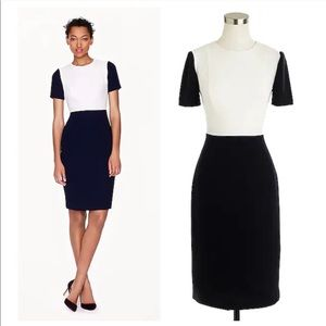 J Crew Seamed Crepe Color Block Dress Navy White